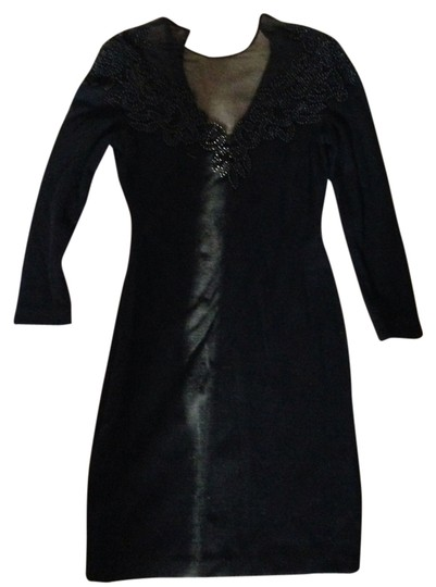87d3747b145 on sale Carmen Marc Valvo Black Sexy Beaded Knit Dress - hydroclean.no