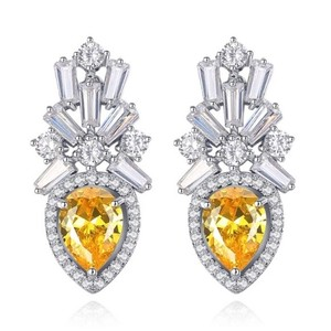 Other Swarovski Crystals Yellow Baguette Earrings