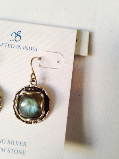 JS Collections Blue Labradorite Cabochon In Sterling Silver Earrings