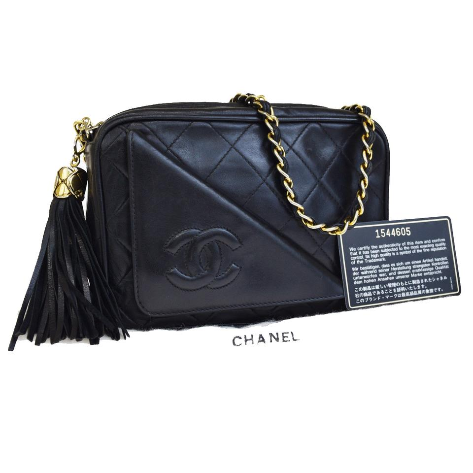 41614ab9662c Chanel Mini Quilted Gold Chain Shoulder Black Lambskin Leather Cross Body  Bag