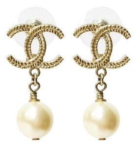 Chanel Chanel Gold Rope CC Faux Pearl Dangle Piercing Earrings