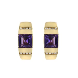 Avital & Co Jewelry 3.50 Carat Amethyst And 0.16 Carat Diamond Earrings 14K Yellow Gold