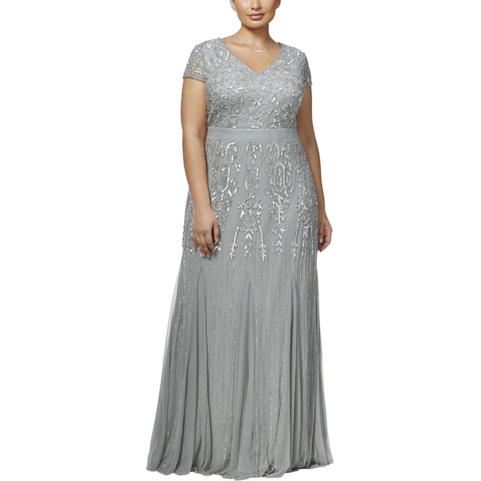 Adrianna Papell Blue Mist Godet Semi-formal Gown 18w Long Formal ...