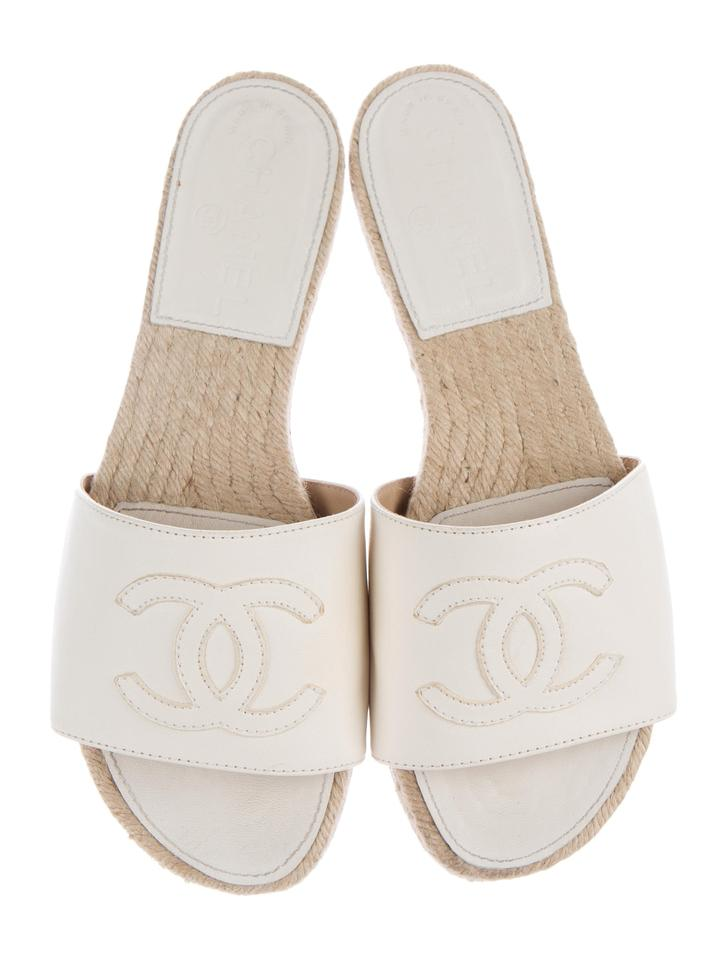 Chanel White Espadrille Slide Sandals Size US 6 Regular (M ...