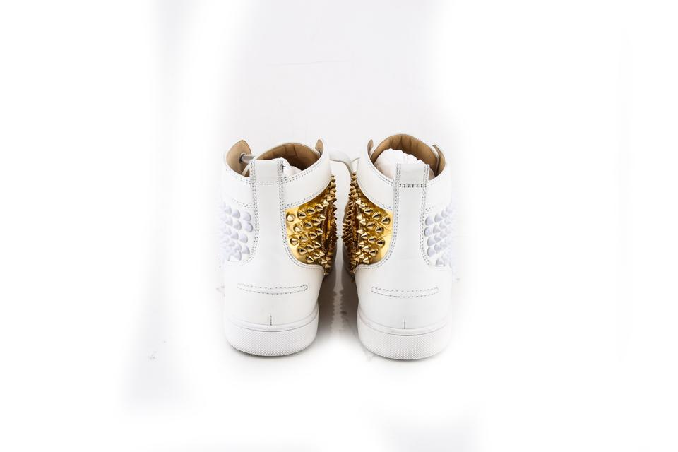 30ea89d4d540 Christian Louboutin White Louis Flat Calf Speechio Spikes Boots Booties  Size US 8.5 Regular (M