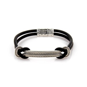 David Yurman Sterling Silver 2 Row Cable Bar Black Silicone Cord Bracelet