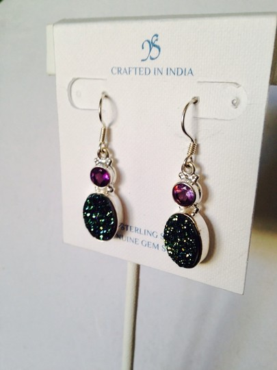 JS Collections NWOT Green/Purple Drusy Crystal & Faceted Amethyst In Sterling Silver Earrings