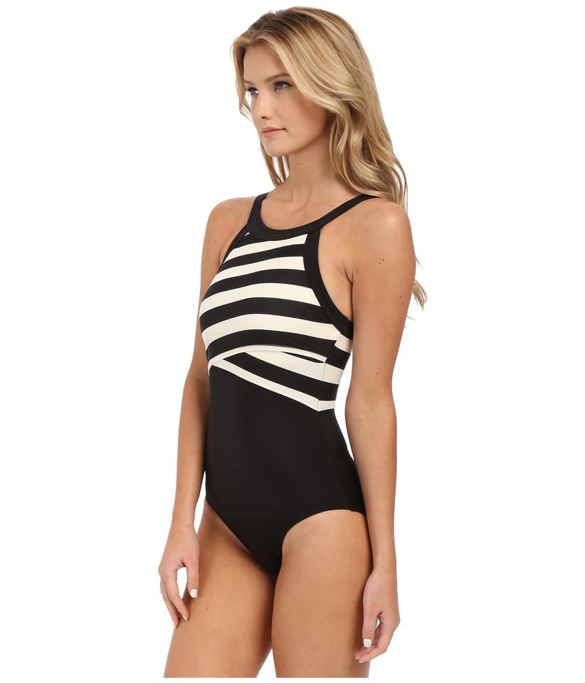 e81909fb024e3 DKNY Black/White Iconic Stripes High Neck Maillot with Removable Soft Cups  One-piece Bathing Suit