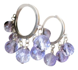 Wristy Business Gold Filled Hoops with Genuine Amethyst