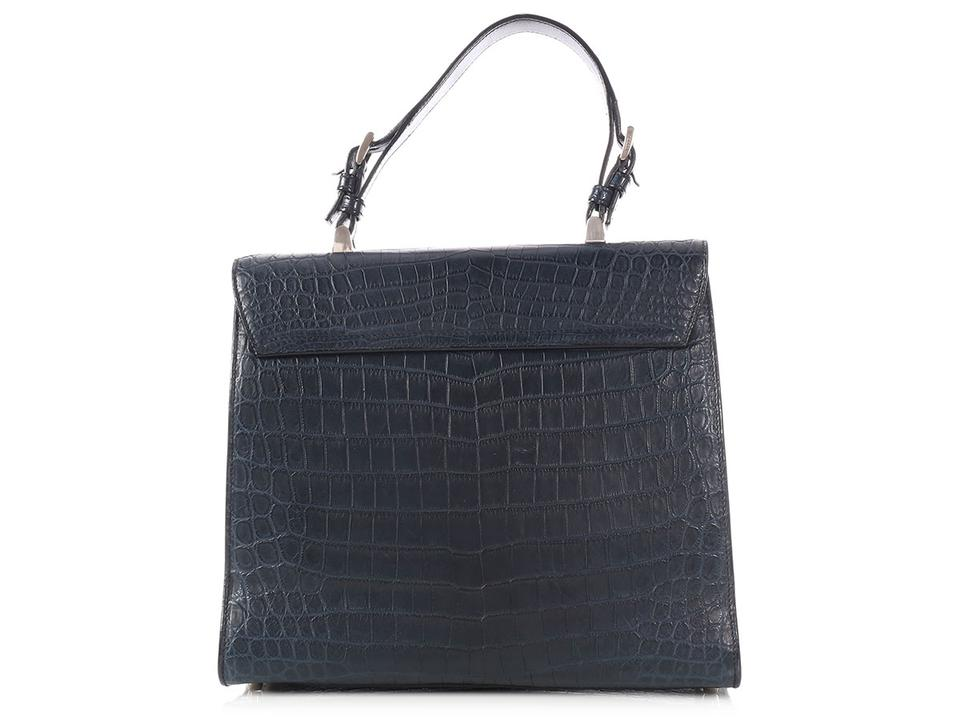 658c601f8f25 Prada Navy Blue Crocodile Skin Leather Satchel - Tradesy
