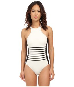 64cdb392a01b6 DKNY DKNY a Lister racer front maillot with striping details and removable