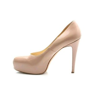 Brian Atwood Patent Leather Patent Leather Platform Nude Pumps