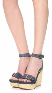 Stuart Weitzman Wedge Denim Platform Sandals