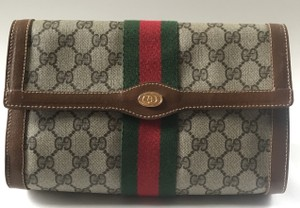 Gucci Velcro Top Closure Vintage Pouch Brown Navy Clutch