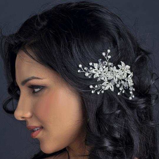 Elegance by Carbonneau Silver/Diamond White Pearl and Rhinestone Comb Hair Accessory