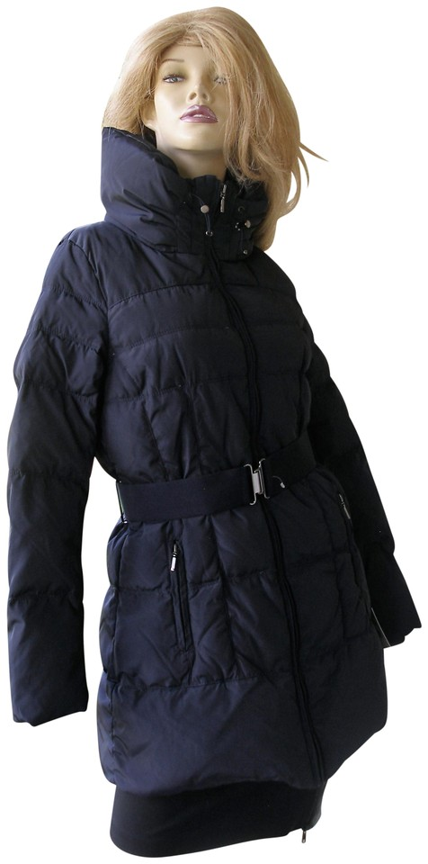 c73b36eb Zara Black Quilted Down Fur Belted Puffer Jacket S Coat Size 4 (S)
