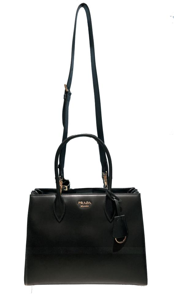 b33a231ace8a Prada Double Soft Bibliotheque Handle Large Accordion Black Calfskin  Leather Tote - Tradesy