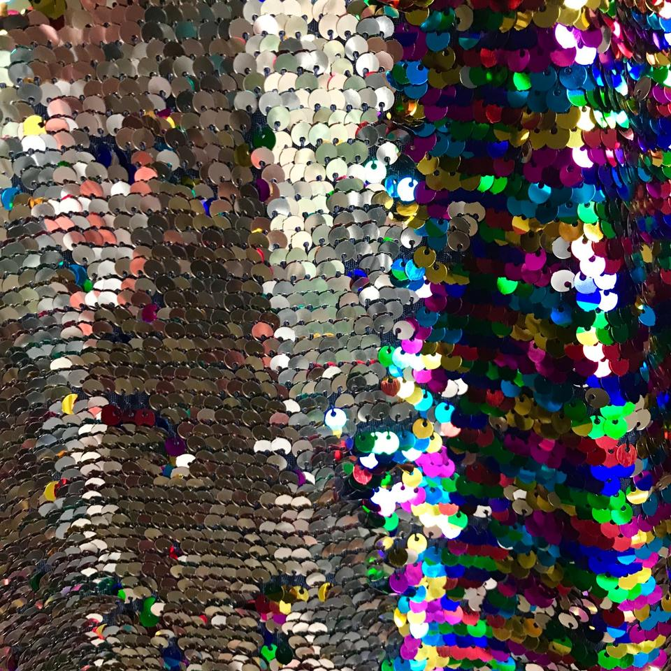 b668d6d8 Rainbow/Gold Reversible Mermaid Sequin Fabric Hoodie and Shorts ...