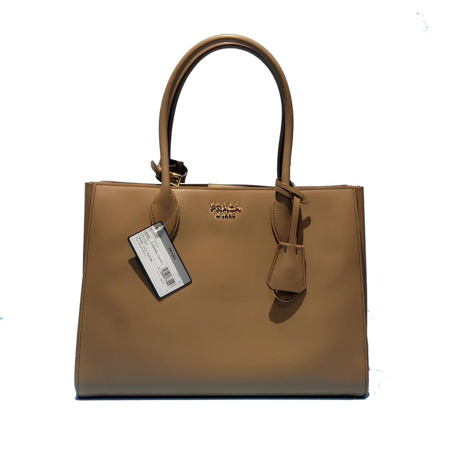 3eec21d995e437 Prada Made In Italy Bibliotheque Double Handle Golden Hardware Shoulder Tote  in Caramel / White Image ...