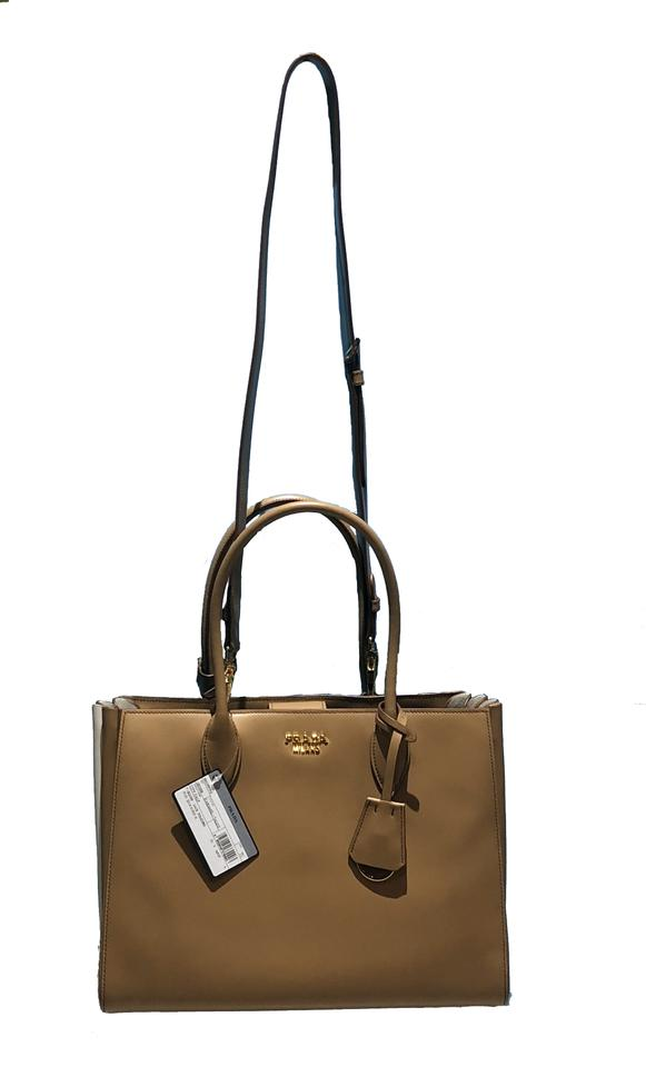 7882127a7fb43d Prada Made In Italy Bibliotheque Double Handle Golden Hardware Shoulder  Tote in Caramel / White Image. 123456789101112