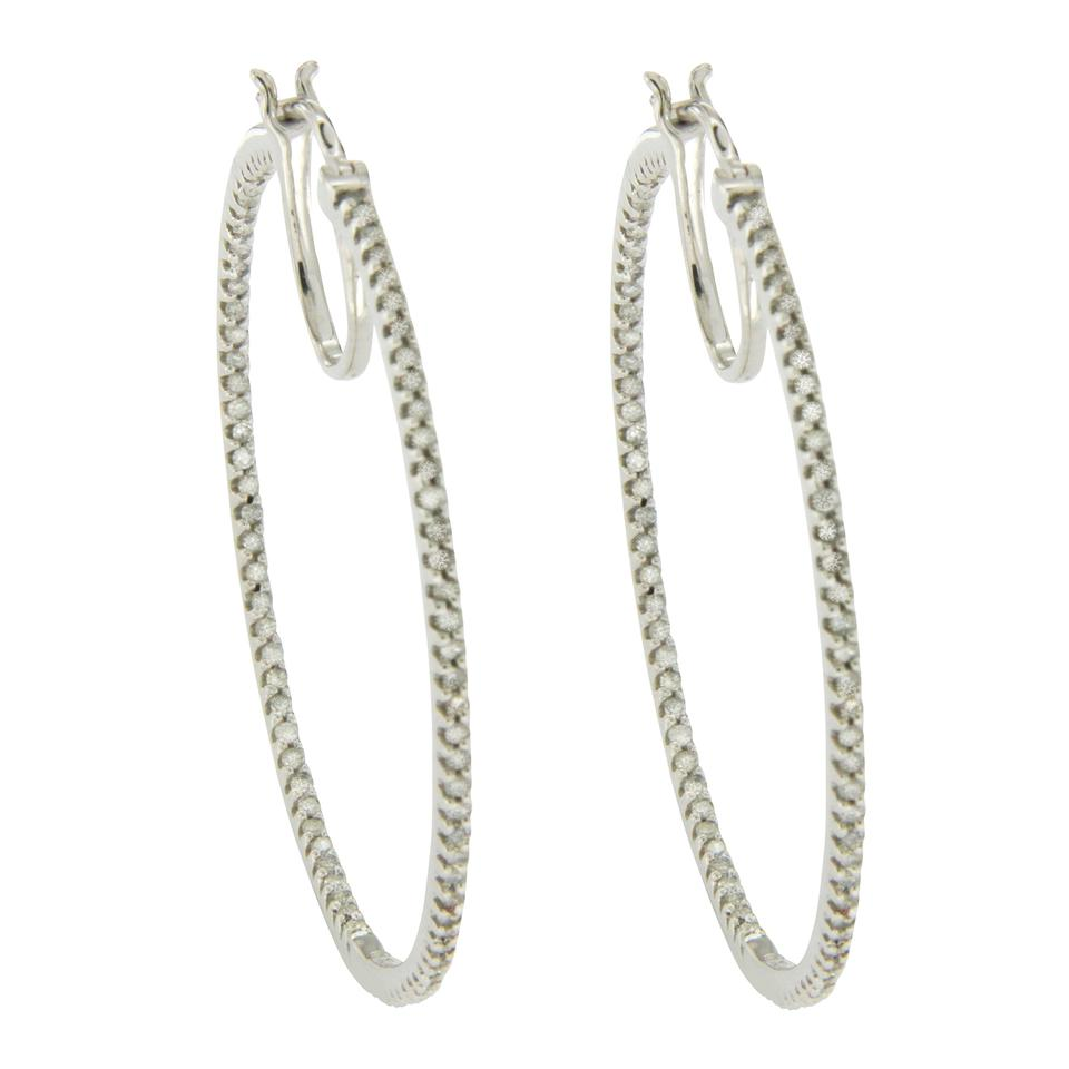 10k White Gold 0 50 Ct Front And Back Diamonds 1 5 Hoop Earrings