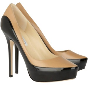 Jimmy Choo Sepia Leather Patent Two Toned Pumps