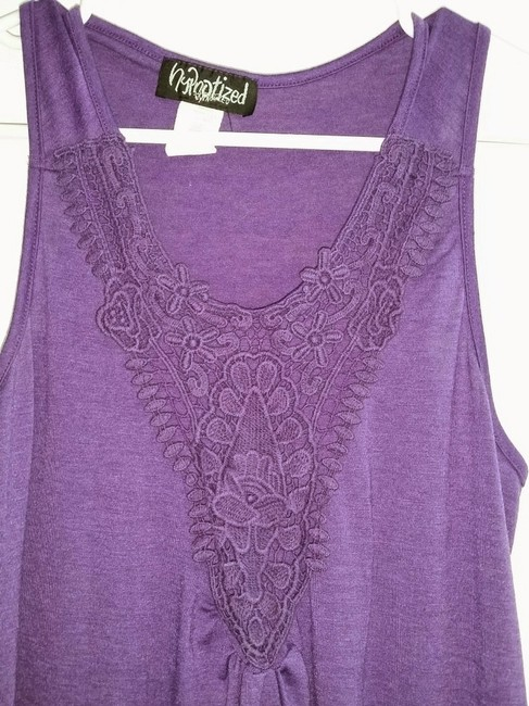Hypnotized short dress Purple Crochet Detail Knee Length Tank Sleeveless Loose Comfy Flowy Beach Coverup New With Flaw on Tradesy