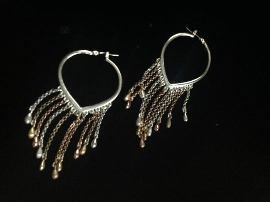 Other sterling heart chain earring hoops Image 2