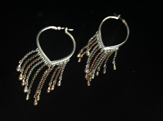 Other sterling heart chain earring hoops Image 3