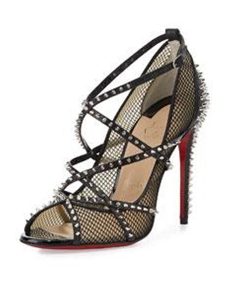 55bfe2c6e96 Christian Louboutin Black Alarc Spike Studded Leather Mesh Strappy Sandals  Size EU 38 (Approx. US 8) Regular (M, B) 17% off retail