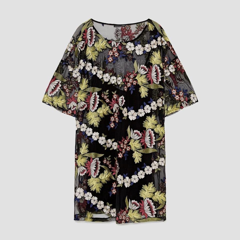 1629547e Zara Black Floral Embroidered Tulle Mini Short Casual Dress Size 8 ...