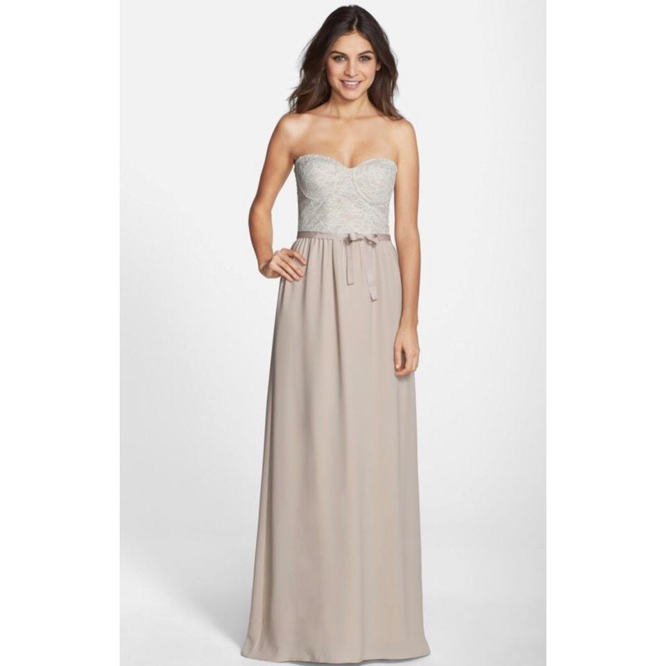 Paper Crown Ivory Hannah Strapless Bridesmaid Long Formal Dress Size 12 L
