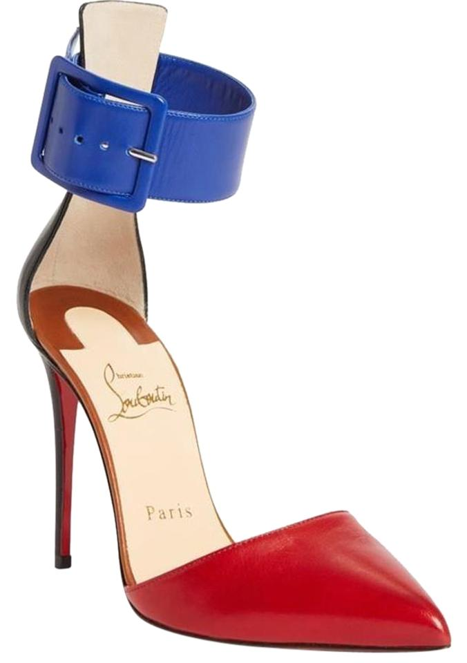 234a3cb8696e Christian Louboutin Red Blue Black Harler Colorblock Ankle Cuff ...