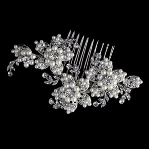 Elegance By Carbonneau Diamond White Pearl Wedding Hair Comb