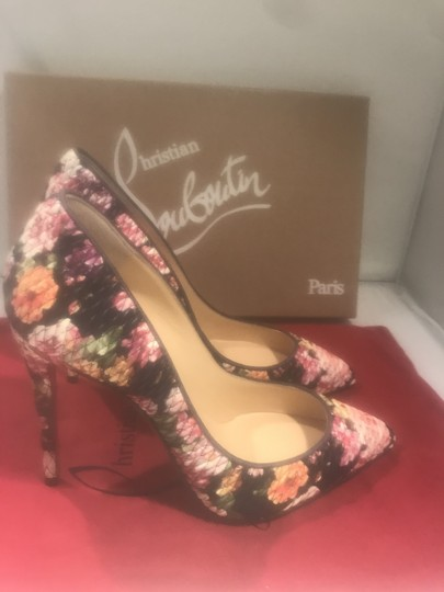 Christian Louboutin Stiletto Pigalle Follies Floral Quilted Multi Pumps Image 5