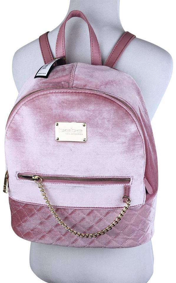 ca6d99832b5 bebe Quilted Velvet Purse Blush Pink Backpack - Tradesy