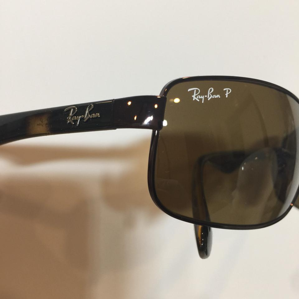 7025ad8b0f Ray-Ban Brown Rb 3478 014 57 Wraparound Metal Polarized 60mm Sunglasses