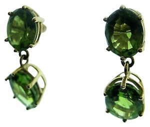 Fine,Estate,14k,Yellow,Gold,Green,Stone,Earrings,