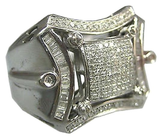 Other 10k,White,Gold,Large,Mens,Baguette,Round,Diamonds,Ring,Size,11