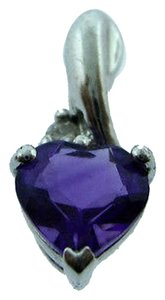 Other Platinum,Amethyst,Diamond,Heart,Stone,Pendant,Love,Charm