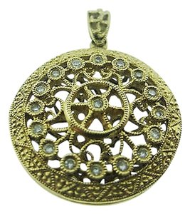Fine,Estate,14k,Yellow,Gold,Ornate,Diamond,Locket,Pendant,Charm