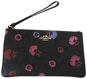 Coach Wristlet in Brown/Primrose floral