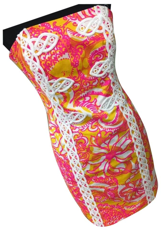 74327d270d8a Lilly Pulitzer Pink White The Tansy Strapless Short Casual Dress ...