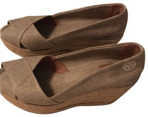 Tory Burch Beige Linen Wedges