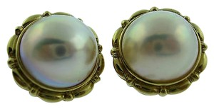 Fine,Estate,14k,Yellow,Gold,Pearl,Earrings,