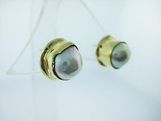 Other Fine,Estate,14k,Yellow,Gold,Hammered,Pearl,Earrings
