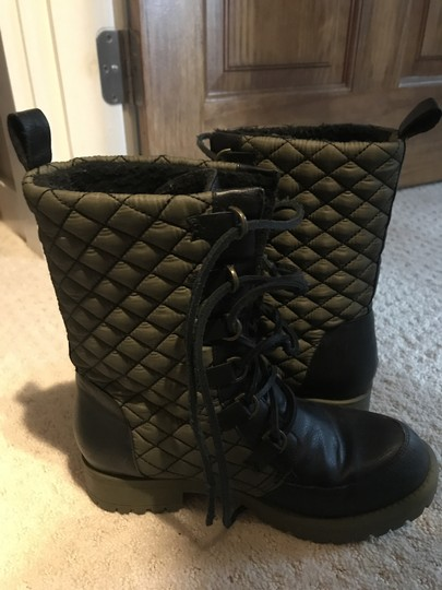 Matt Bernson Waterproof Quilted Lace Black and gold Boots Image 2