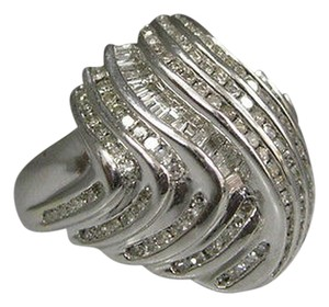 14k,White,Gold,Baguette,Round,Diamonds,Ladies,Ring,Size,7.75