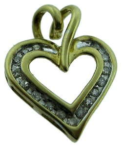 10k,Yellow,Gold,Diamond,Heart,Pendant,Charm,Necklace,Love