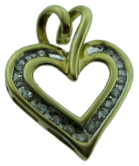 Other 10k,Yellow,Gold,Diamond,Heart,Pendant,Charm,Necklace,Love